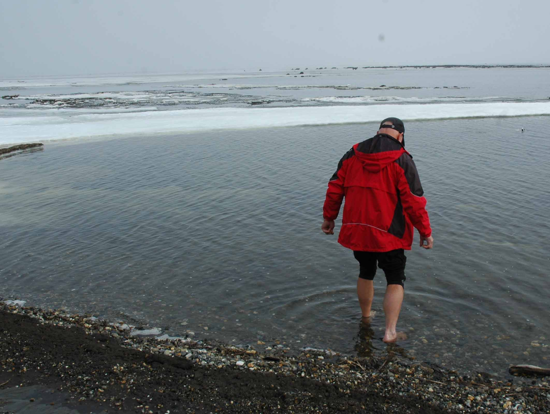 Arctic Ocean - Larry wading for a minute or two...