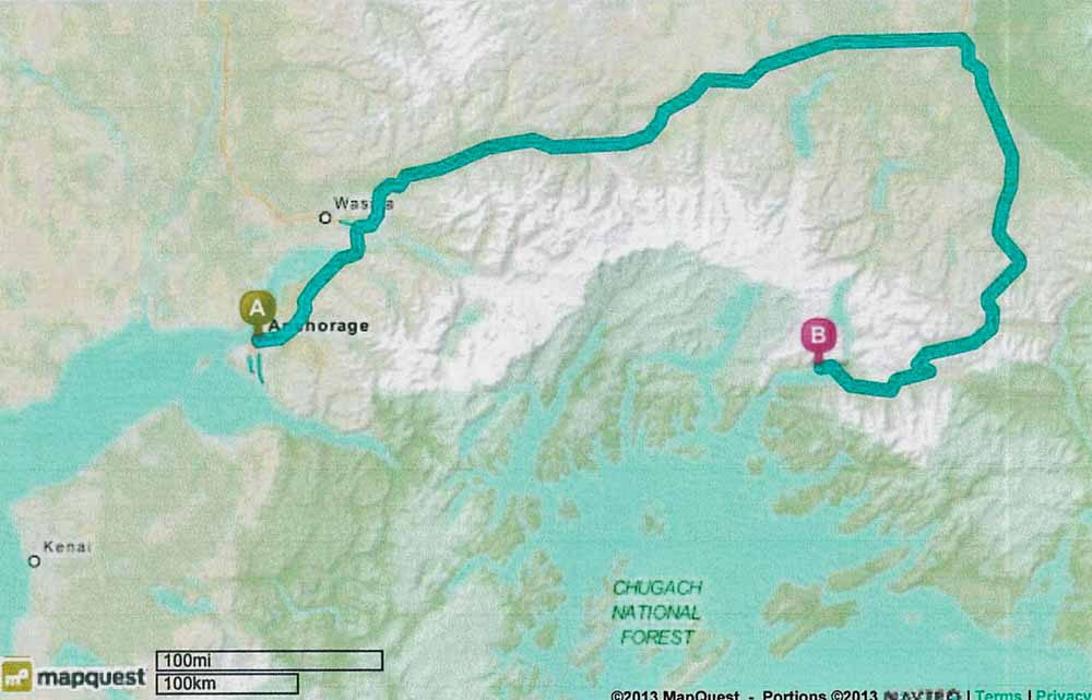 Route from Anchorage to Valdez