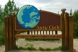 Arctic Circle on the way to Prudhoe Bay