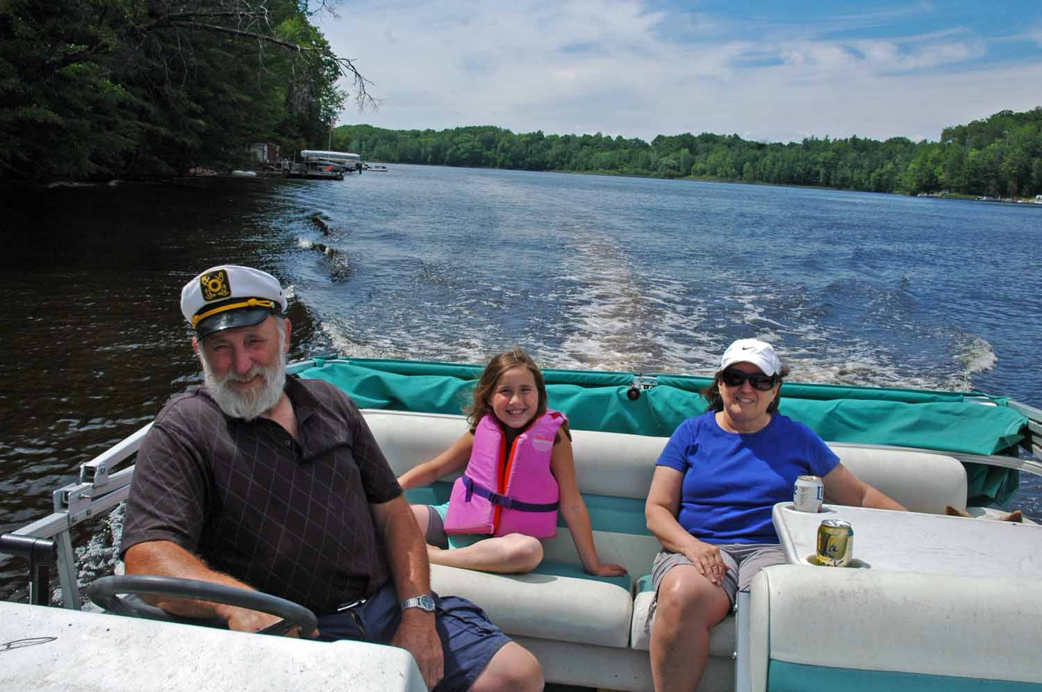 Captain Dale Touring on the Pontoon with Chloe and Bobbie