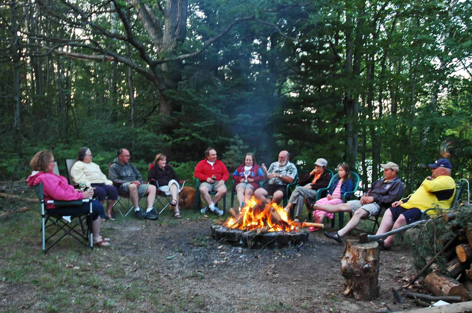 Sharing stories around the evening campfire