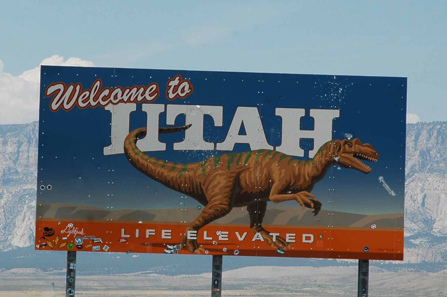 Greeted in Utah with a weather worn sign...