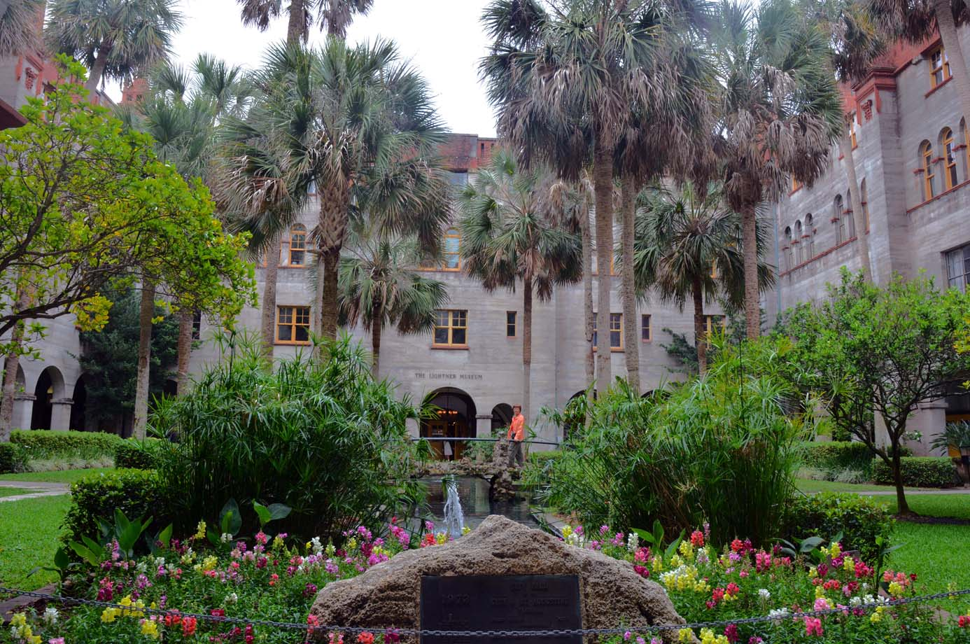 Lightner Museum and shop with colorful courtyard