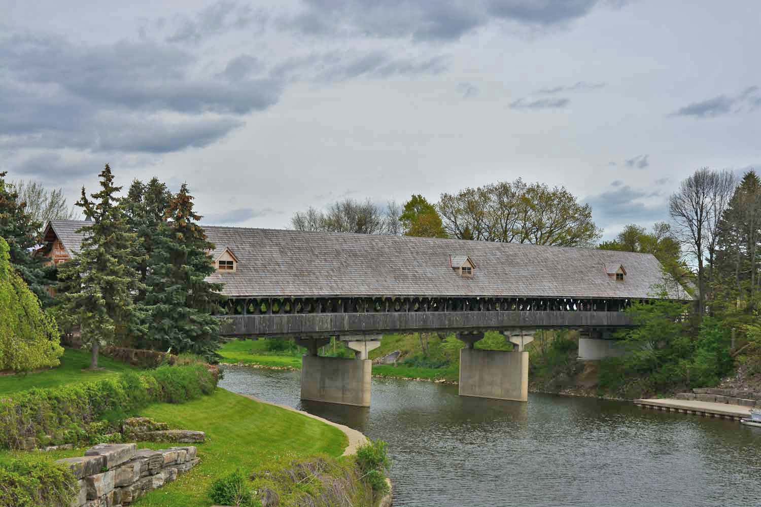 Frankenmuth covered wooden bridge over the Cass River