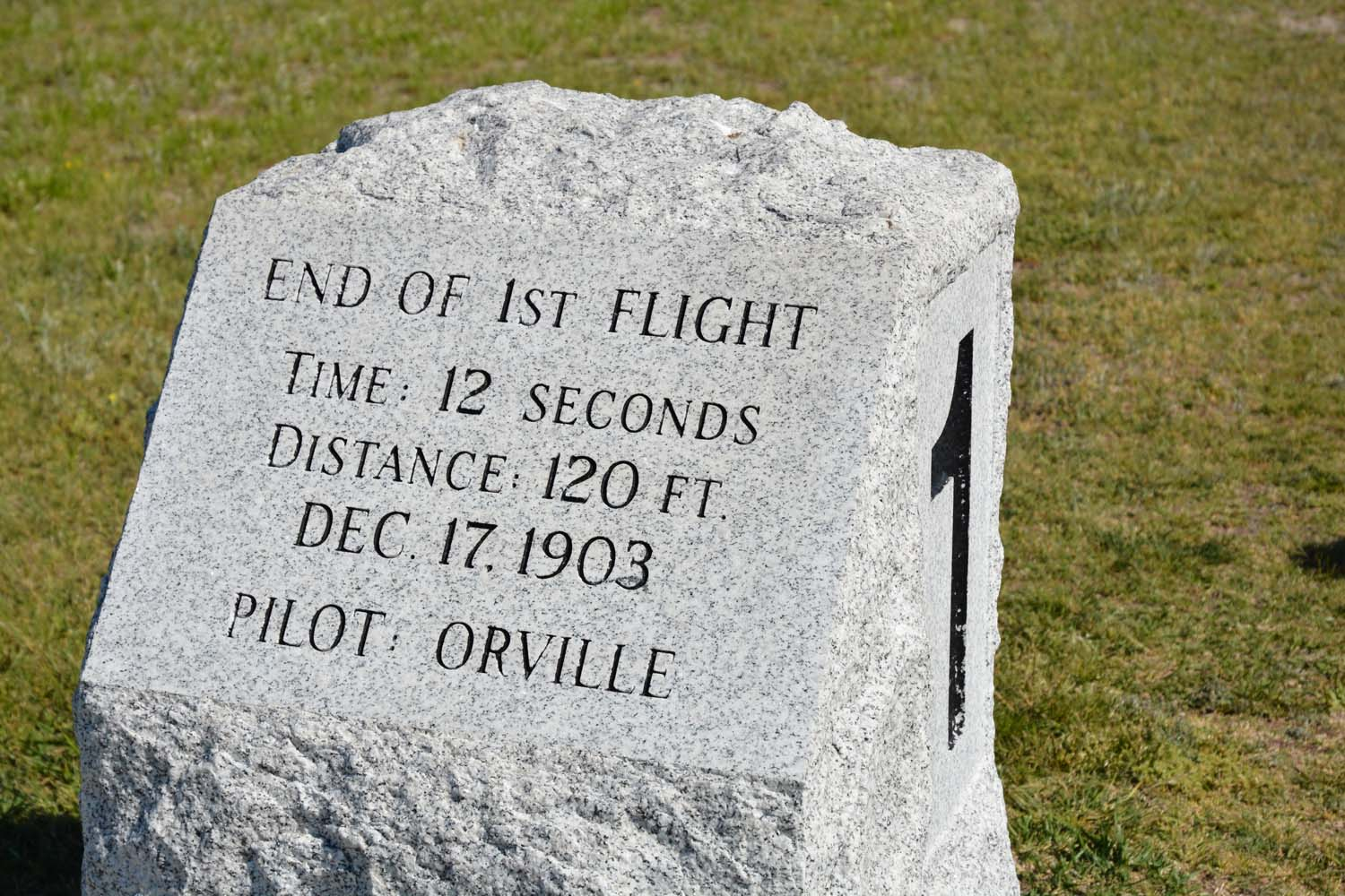 Marker for the first four flights - Number one