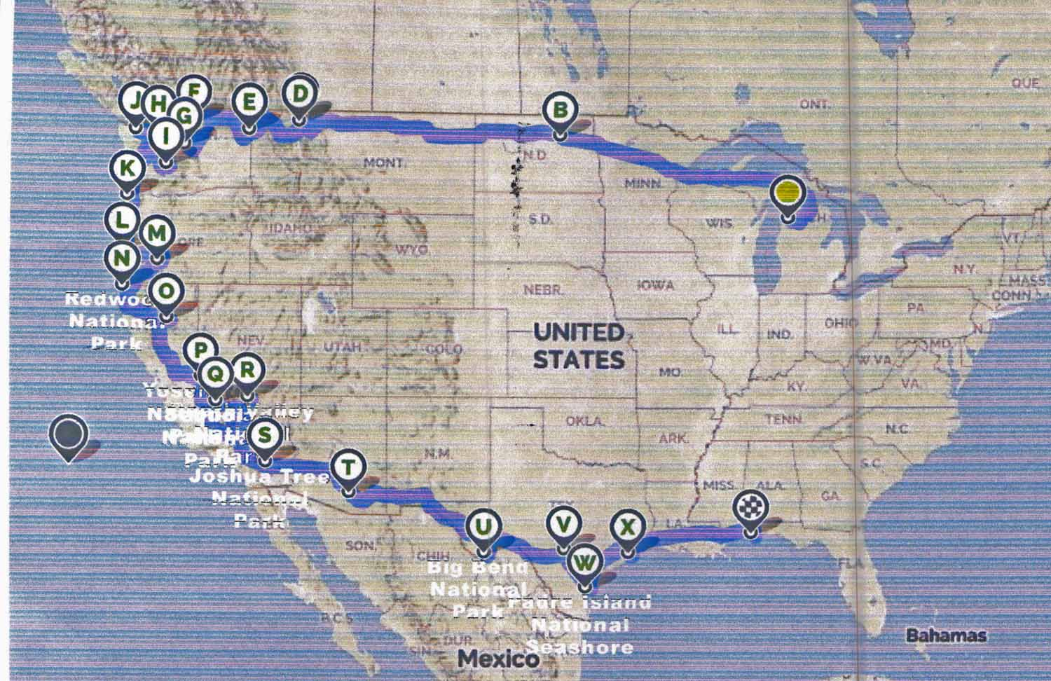 Summer 2016 travel route from Michigan to Seattle winding out way down the coast to California then Arizona all the way to Padre Islands in Texas then back on to Gulf Shores