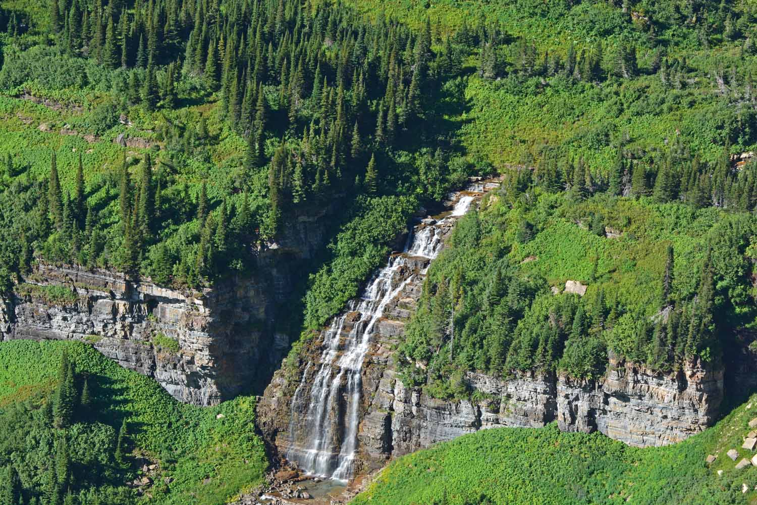 Glacier is very green and there are waterfalls everywhere.