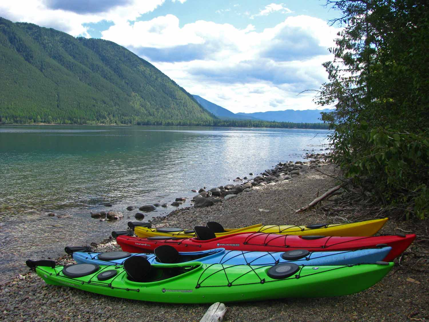 Jan took this one...she liked that all the kayaks were different.  This is along the trail on Lake McDonald.