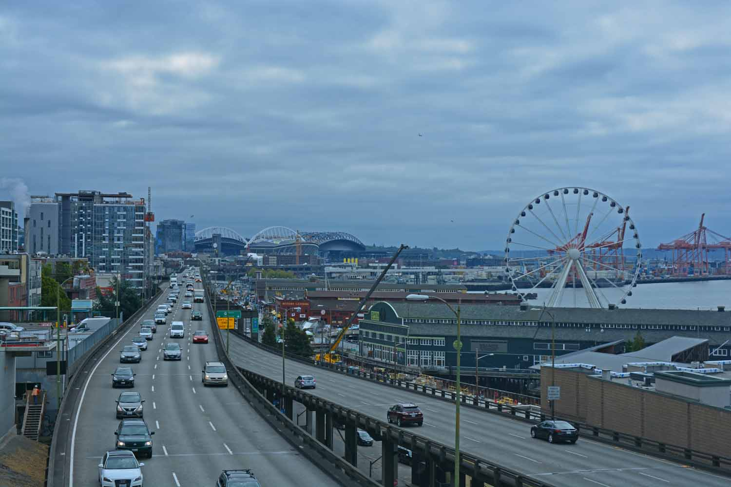 This could be an iconic shot of Seattle...the harbor and lots of traffic...