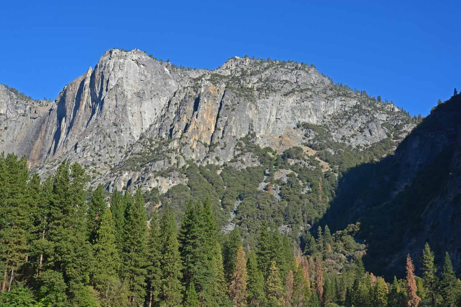Lots of granite in Yosemite.  One of the more famous is El Capitan.  It is imposing and very photogenic in the valley looking up!