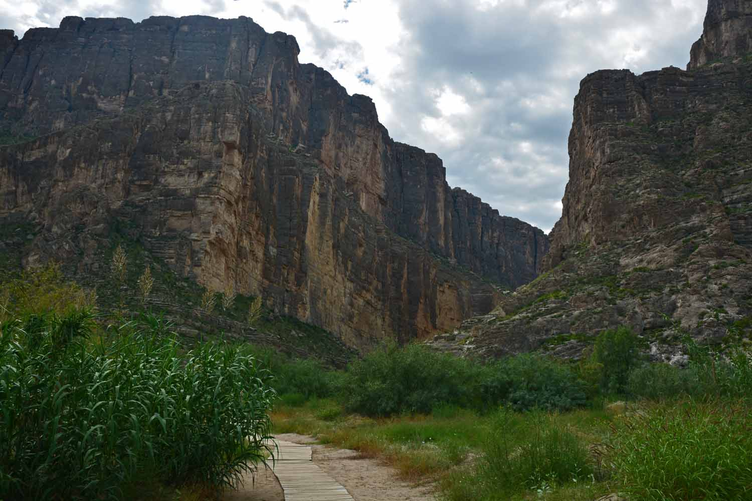 Santa Elena Canyon with the Rio Grande running down the middle.