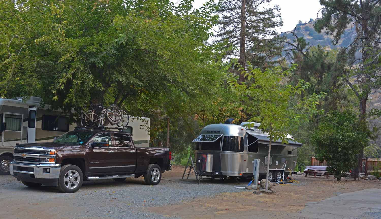 At Sequoia/King we based camped at the Sequoia RV Ranch park.  It was a great find and enjoyed our deck overlooking the river.