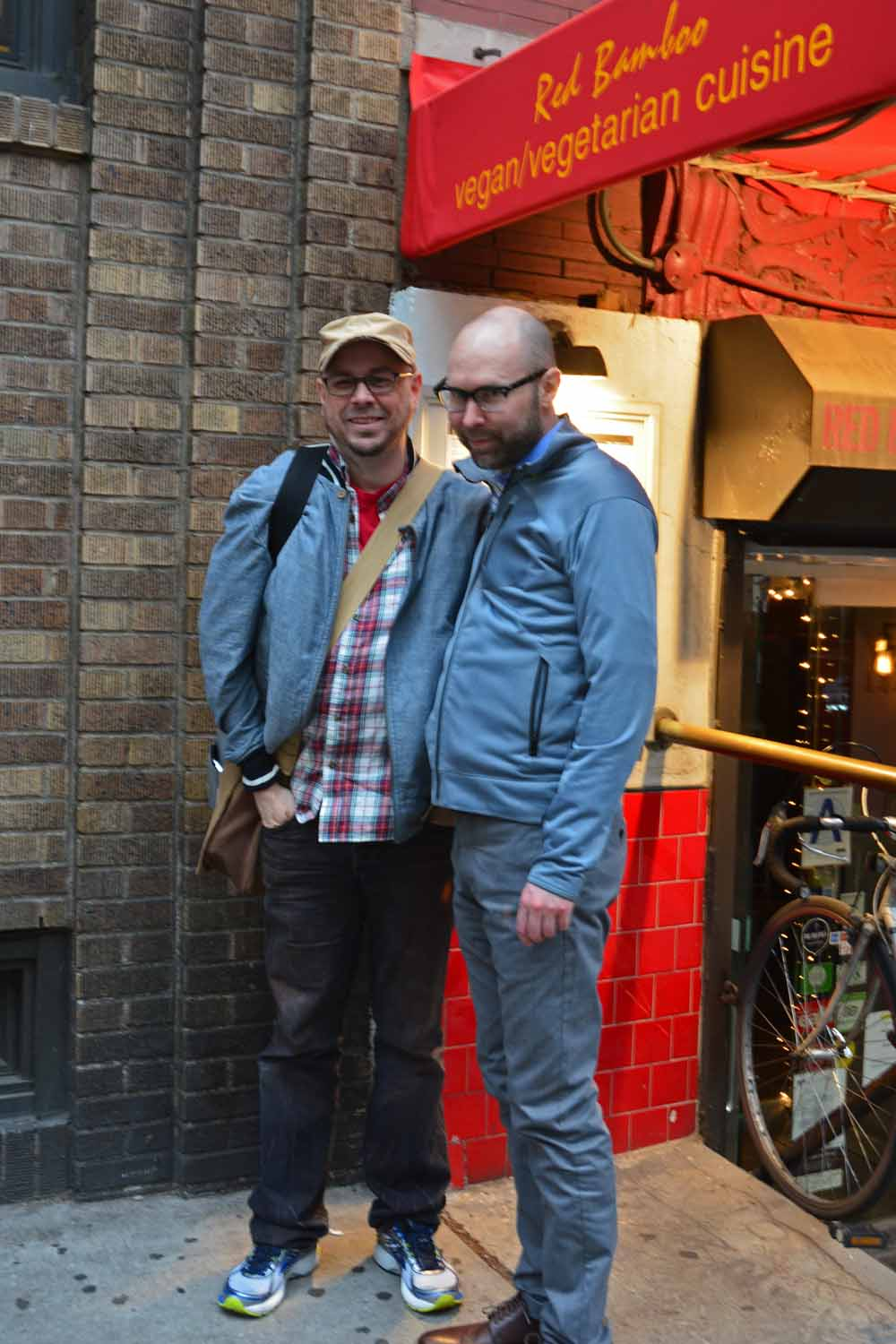 Karl and Cully on their home turf in NYC, they can always find great places to eat!