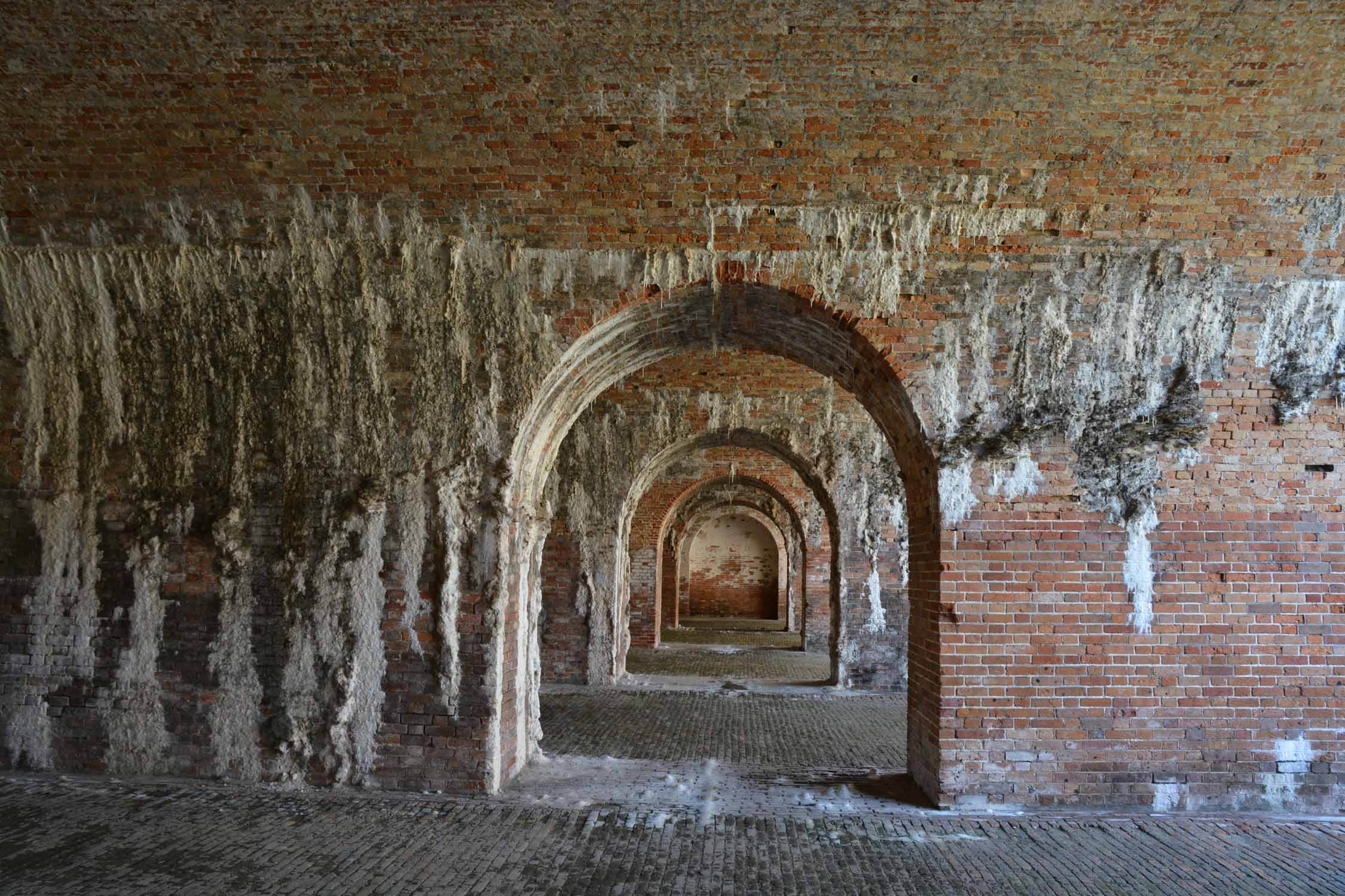 Fort Morgan has lots of brick and the aging process is spectular enhanced by the sea air of the Gulf of Mexico