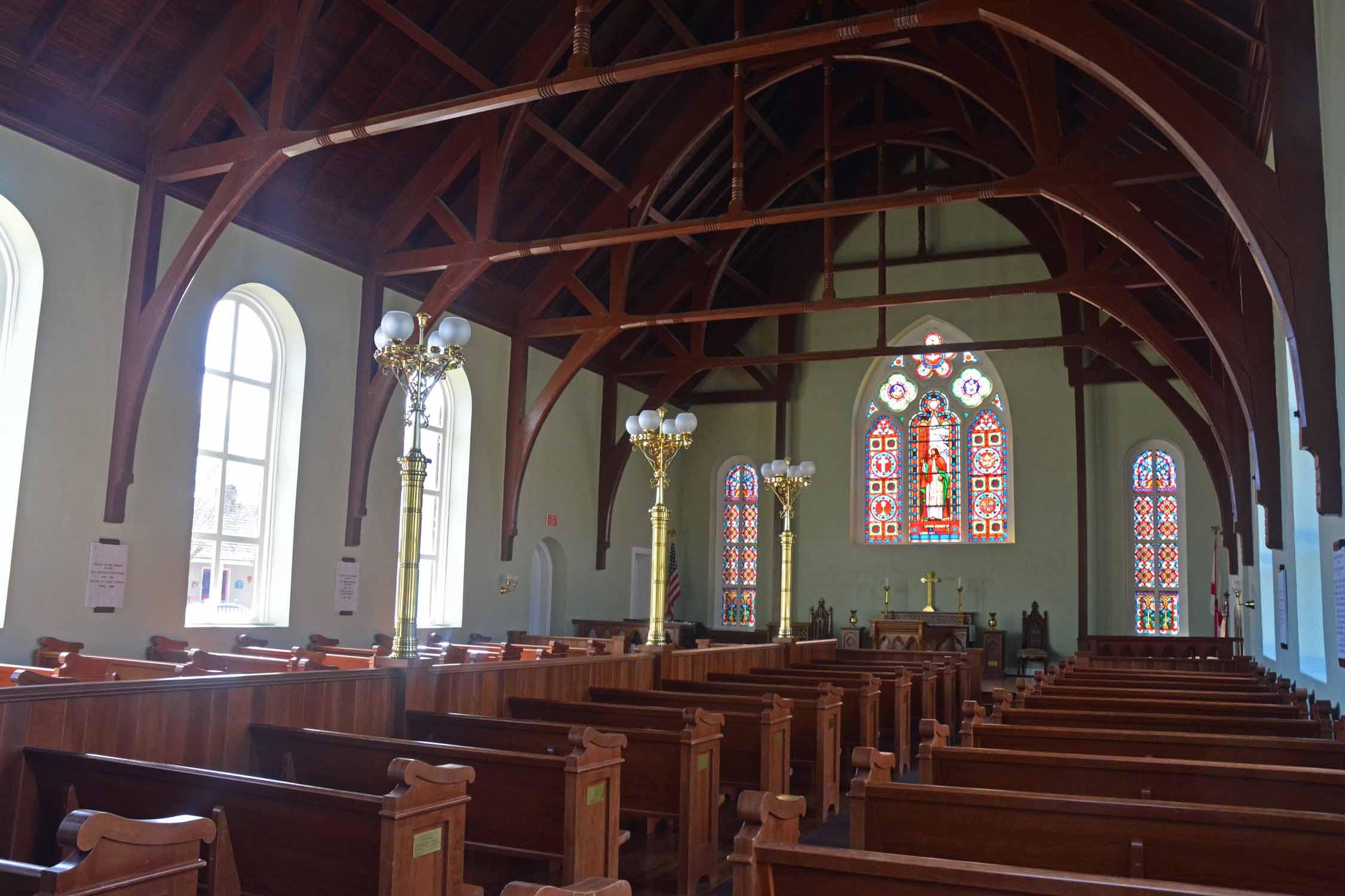 The restored old church from the 1800's.  Loved the soft green color and all the wood work.