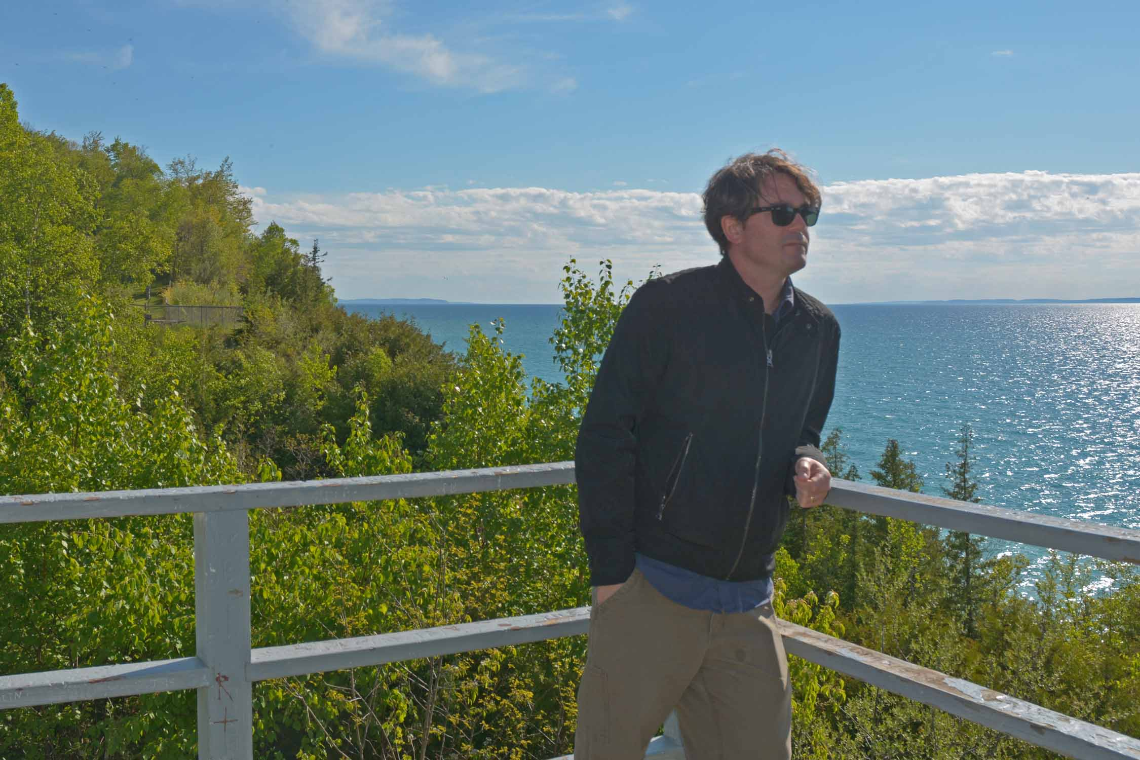 John taking in the view of Lake Michigan at the Peterson Park overlook.
